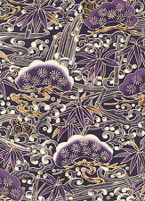 PINE BOUGHS & BAMBOO: Purple Asian Japanese Quilt Fabric - (By the Half Yard)