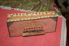 Antique Victorian Accordion Musical Squeeze Box-Wood Cardboard Metal-Primitive