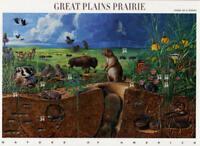 2001 34c Great Plains Prairie, Souvenir Sheet of 10 Scott 3506 Mint F/VF NH