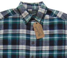Men's WOOLRICH Green White Blue Plaid Flannel Cotton Shirt M Medium NWT NEW
