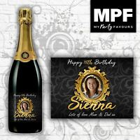 Personalised Photo Birthday Champagne/Prosecco Bottle Label-Any Name/Age/Message