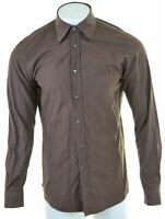 HUGO BOSS Mens Shirt Large Brown Cotton Slim Fit  NK31