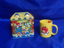 M&M 1996 Limited Edition Christmas Village Tin & 1996 Yellow Mug or Coffee Cup