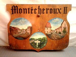Antique Folk Art Wood Shield Sign Montecheroux II Original Finish Hand Painted