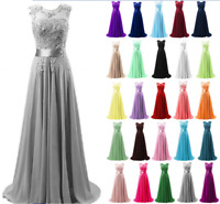 Long Chiffon Lace Evening Dress Formal Party Ball Gown Prom Bridesmaid Dresses