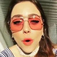 Vintage Oversize Square Sunglasses Gradation Colors Lens Eyewear Glasses