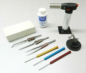 Jewelry Soldering Kit Torch Magnesia Block Fiber Tweezers Picks Flux Repair Tool