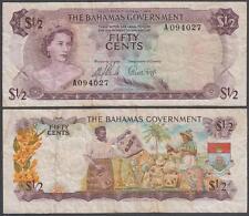 L. 1968 Bahamas Monetary Authority Queen Elizabeth II 1/2 Dollar