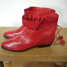 NEW Vintage Stuart Weitzman Spain Red Leather Suede Ankle Tassel Boots 5.5B 35.5
