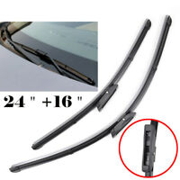 """Pair of Front Window Windscreen Flat Wiper Blades Kit Fit For Renault 24""""+16"""""""
