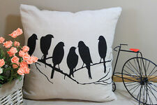 Zakka Vintage Cotton Linen Cushion Cover Home Decor Birds