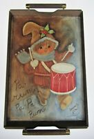 Vtg 77 Painted Wood Holiday Serving Tray Drummer Boy Retro Christmas Rum Pa Rum
