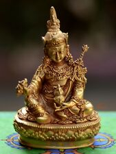 "Copper Alloy Fully Gold Plated 3.5"" Guru Rinpoche Statue from Patan, Nepal"