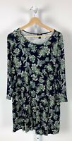 J. JILL Wearever Paisley Floral Print Long Tunic Top 3/4 Sleeve Stretch Blue XL
