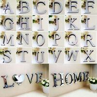 Mirror Wall Sticker Mirror Effect 26 Alphabet Letters Decor Acrylic Silver DIY