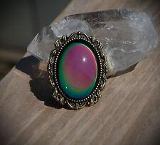 Bronze Tone Simple Mood Color Change Adjustable Ring Alt/Lolita/Goth/Grunge/90's