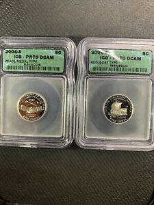 2004 S 5C Peace & Keelboat Medal Jefferson Nickel ICG PR70DCAM *No Reserve!