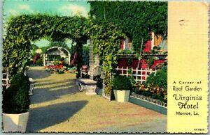 "Monroe, Louisiana Postcard Virginia HOTEL ""Corner of Roof Garden"" Linen 1940"