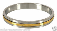 "The Amritsar Store Stainless Steel & Brass Kada ( Mens,Plain) 0.3"" thickness"
