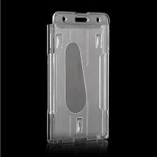 HOT SALE Vertical Hard Plastic Badge Holder Double Cards ID Transparent 10x6cm