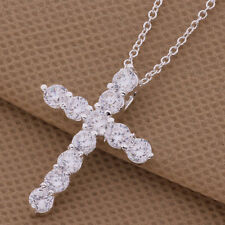 Silver crystal Necklace fashion cute women Lady Crystal Cross wedding AN296