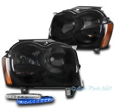 For 05 06 07 Jeep Grand Cherokee Black/Smoke Headlight Lamp +Blue LED DRL Signal