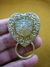 E-478) Amber Czech 1940's glass Eyeglass heart flower BRASS pin pendant badge id