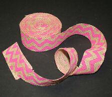 "1-1/2"" Burlap Pink Chevron Ribbon Gift Bows Weddings Wreaths Crafts - 5 Yds."
