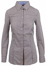 L' ARGENTINA Damen Bluse Shirt Langarm Größe 38 M Braun Kariert Brown Checkered