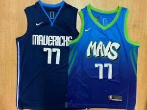 Luka Doncic #77 Dallas Mavericks Men's Navy/Mavericks Cartoon Sewn Jersey