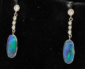 Antique 14K gold 6.38CTW VS1/G diamond/13.3 X 6mm cabochon opal dangle earrings