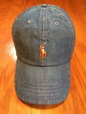 POLO RALPH LAUREN INDIGO DYED DENIM BLUE JEAN 6 PANEL HAT COTTON SPORTS CAP
