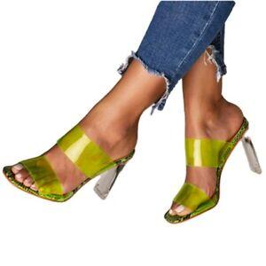 Women's Jelly Transparent Slides High Heels Sandals