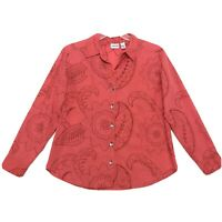 Chico's Embroidered Shirt Womens Chicos Size 2 Faded Red Orange Button Front