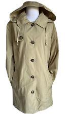 NEW London Fog Sz XXL Trench Hooded Coat Belted Beige Khaki Buttons Women's