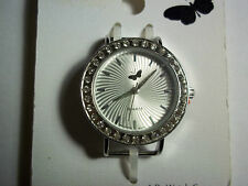 Silver Solid Bar Watch Face with CRYSTALS Around the Face and BUTTERFLY J-78