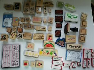 RUBBER STAMP HUGE MIXED LOT STAMPS OVER 70 STAMPS WOOD MOUNTED & FOAM STAMPING
