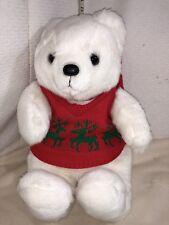 NEW COMMONWEALTH WHITE BEAR STUFFED ANIMAL CHRISTMAS FRIEND VINTAGE NEW HATSCARF