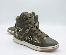 Geox scarpe da Bambina in pelle verde camouflage Sneakers alte con lacci e zip
