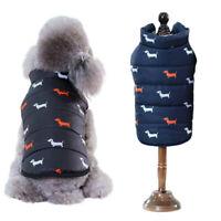 Winter Warm Dog Puppy Black Navy Blue Fleece Lined Waterproof Puffa Coat Jacket*