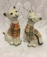 Siamese Kitty Cat Salt & Pepper Shaker Set  Hand Painted Kittens Plaid Sweaters