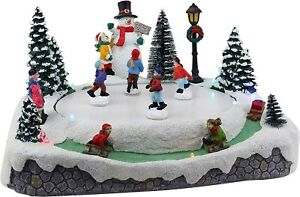 Christmas Village Skating Pond Animated Lighted Musical Snow Village - 3 skater