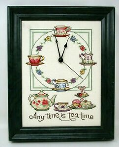 Finished Cross Stitch Clock Any Time is Tea Time Framed 12x15