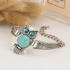 Silver Stone Owl Charm Bracelet Ethnic Boho Bohemian Turquoise Women Jewelry