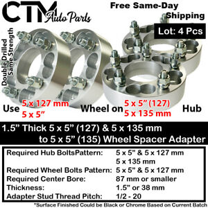 """4x 1.5"""" THICK 5x135 & 5x5(5x127) TO 5x5(127) WHEEL ADAPTER FIT CHEVY JEEP & MORE"""