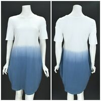 Womens Deerberg by OSKA Tunic Dress Cotton Jersey White Blue Summer Size S