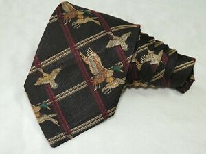 "Robert Talbott MEN'S TIE BLACK, BEIGE/BIRDS PRINT 3.75 57"" USA"