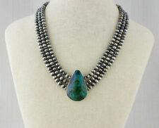 Natural Azurite/Malachite 3-Strand Sterling Silver Bead Necklace