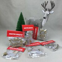 Frosted & Gold Tone Vintage Christmas Ornaments Angel Snowman Reindeer Plastic