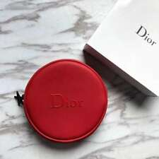 New Gift Dior Red Round Cosmetic Bag Exquisite Compact Carry Bag Free Shipping
